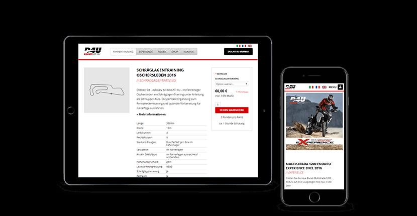 Ein Mockup der Ducati 4U Webseite
