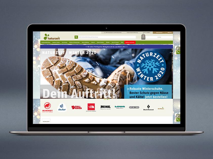 Ein Mockup des Naturzeit Onlineshops