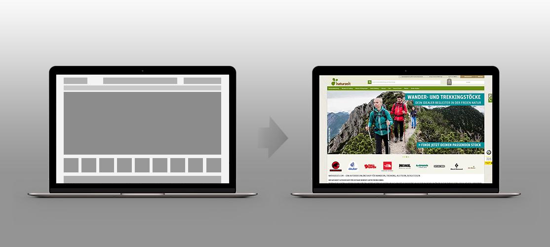 Shop-Design – Infografik, Wireframe links, fertige Webseite rechts