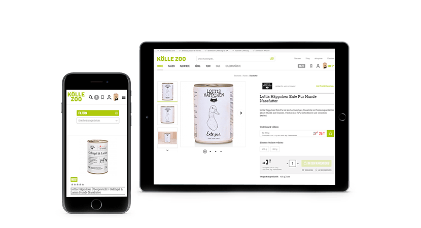 Ein Mockup des Koelle Zoo Online-Shops