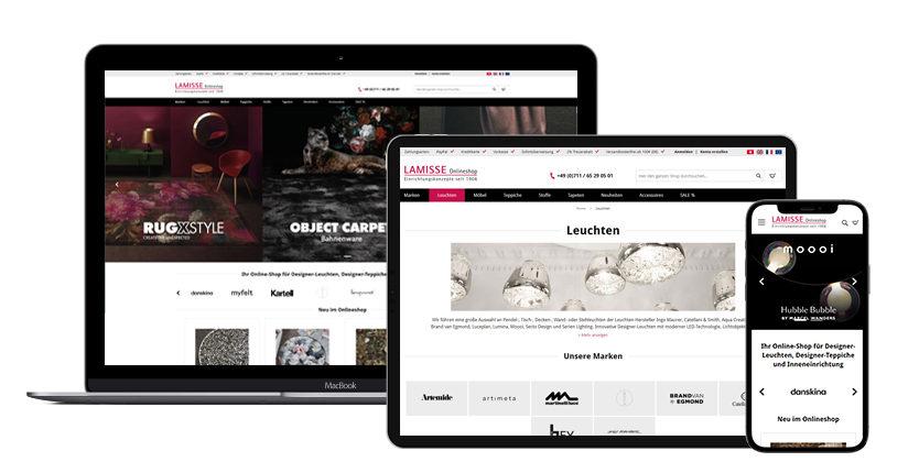 Ein Mockup des Lamisse-Online-Shops