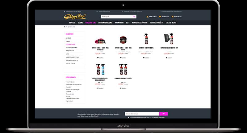 Ein Mockup des Onlineshop ShinyChief